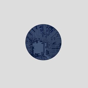 Blue Geek Motherboard Circuit Pattern Mini Button