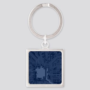 Blue Geek Motherboard Circuit Pattern Keychains