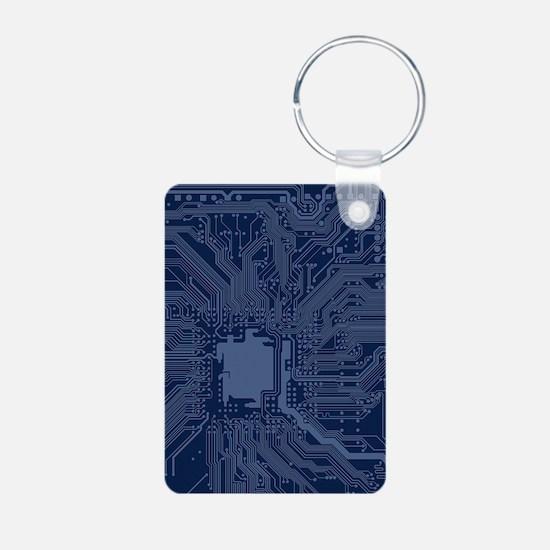 Blue Geek Motherboard Circuit Pattern Keychains