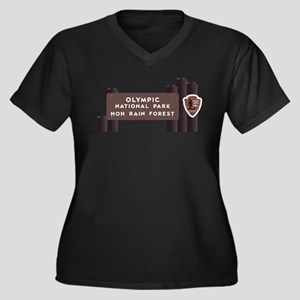 Hoh Rainfore Women's Plus Size V-Neck Dark T-Shirt
