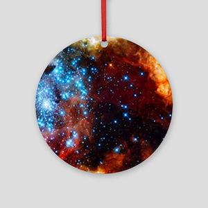 Orange Nebula Round Ornament
