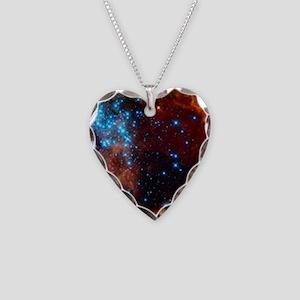Orange Nebula Necklace Heart Charm