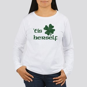 tis herself shamrock transparent copy Long Sleeve