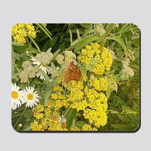 Butterfly Yellow Flowers Mousepad