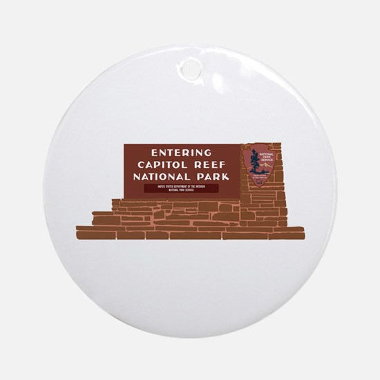 """Entering Capitol Reef National Par Round Ornament"