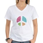Stencil Peace Women's V-Neck T-Shirt