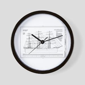 Balclutha Ship Outboard Profile Diagram Wall Clock
