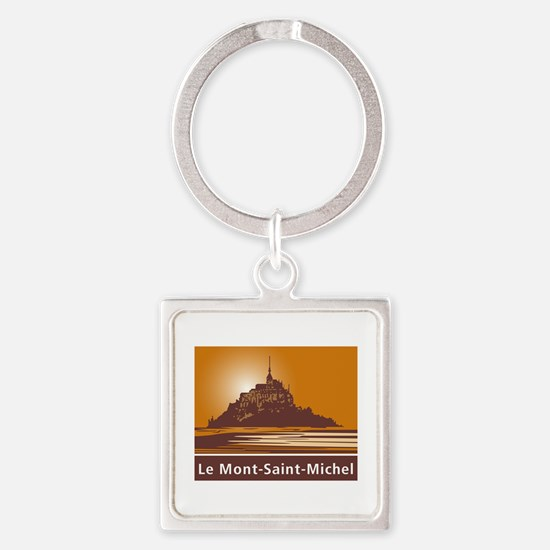Mont Saint-Michel, France Square Keychain