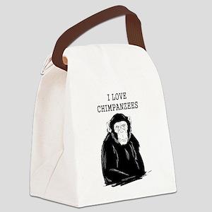 I Love Chimpanzees Canvas Lunch Bag