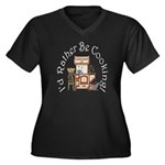 I'd Rather Be Cooking! Plus Size V-Neck Dark T