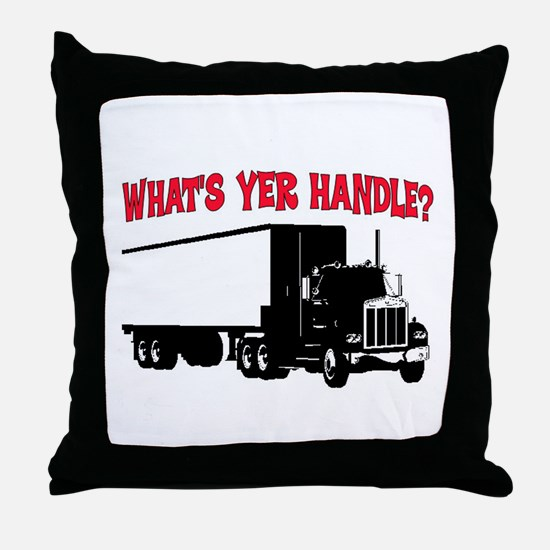 WHAT'S YER HANDLE?? Throw Pillow