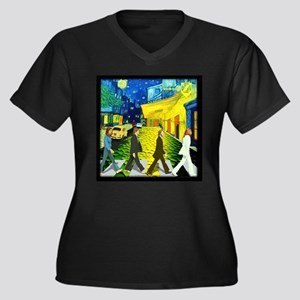 Fab4 Van Gog Women's Plus Size V-Neck Dark T-Shirt