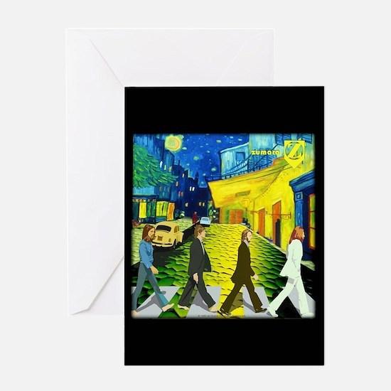 Fab4 Van Gogh Road Greeting Card