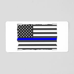 Us Flag Blue Line Aluminum License Plate