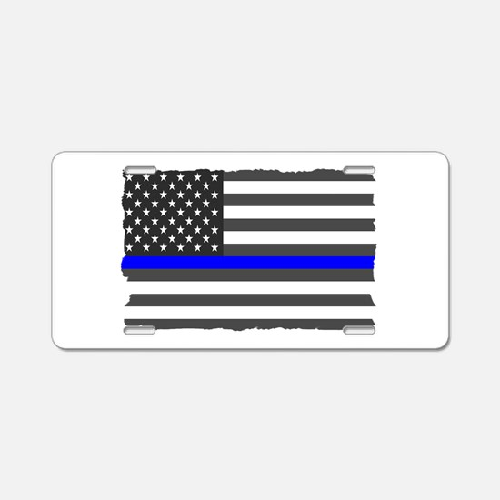 Us Flag Blue Line Aluminum License Plate