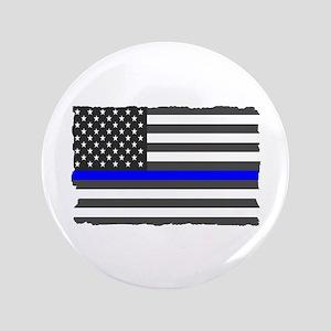 Us Flag Blue Line Button