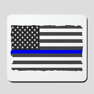 Us Flag Blue Line Mousepad