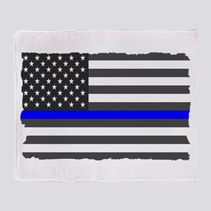 Us Flag Blue Line Throw Blanket