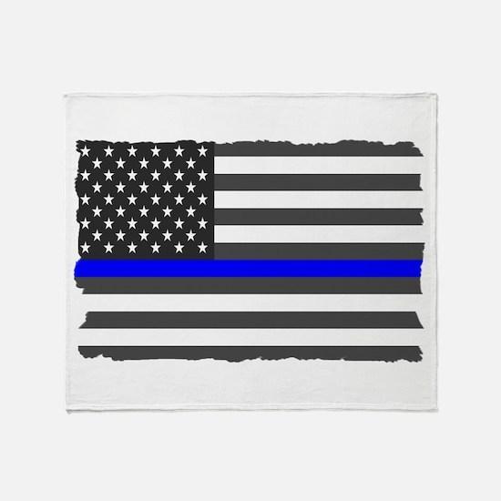 Us Flag Blue Line Throw Blanket