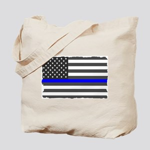 US Flag Blue Line Tote Bag