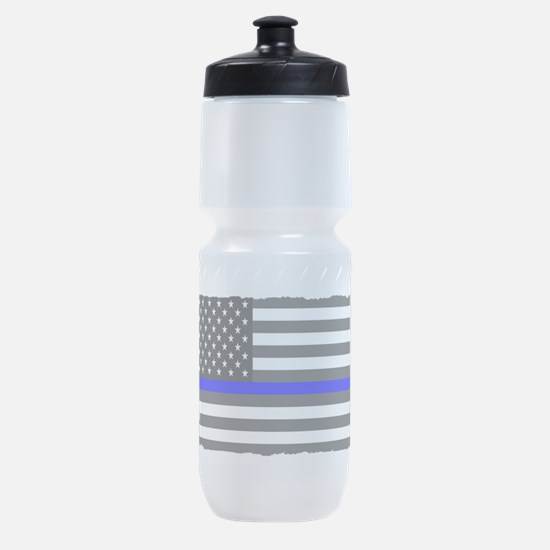 US Flag Blue Line Sports Bottle