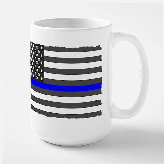 US Flag Blue Line Mugs