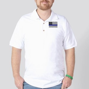 Us Flag Blue Line Golf Shirt