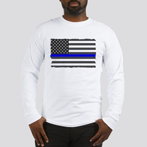 US Flag Blue Line Long Sleeve T-Shirt
