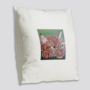 Orange Tabby Cat Burlap Throw Pillow