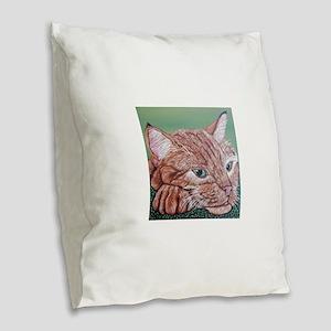 Orange Tabby Cat Burlap Throw Pillow