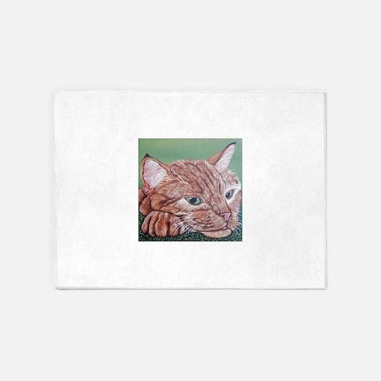 Orange Tabby Cat 5'x7'Area Rug