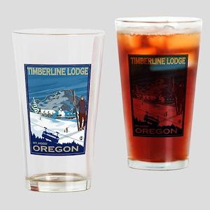 Mt Hood, Oregon - Timberline Lodge Drinking Glass