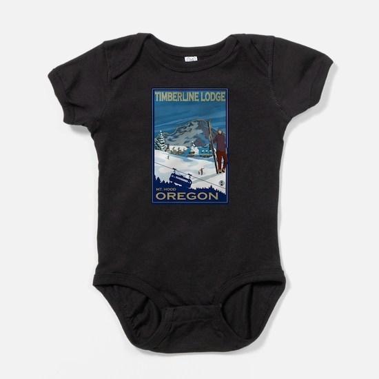 Mt Hood, Oregon - Timberline Lodge Baby Bodysuit