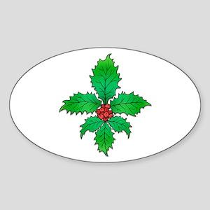 Holly Fleur de lis Oval Sticker