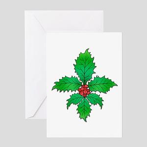 Holly Fleur de lis Greeting Card
