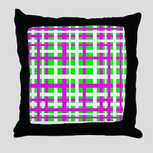 Fuchsia & Green Interlocking Stripes Throw Pillow