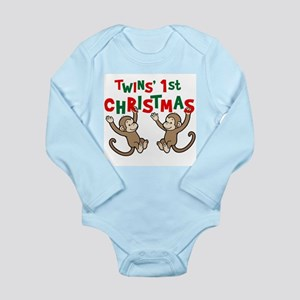 Twins' First Christmas - Monkey Body Suit