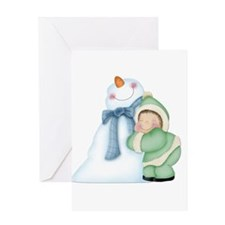 Child with Snowman 2 Greeting Card