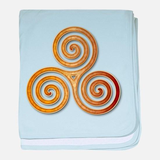 Celtic Triple Spiral in Citrine & Gol baby blanket