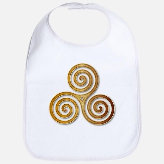 Celtic Triple Spiral in Citrine & Gold Bib