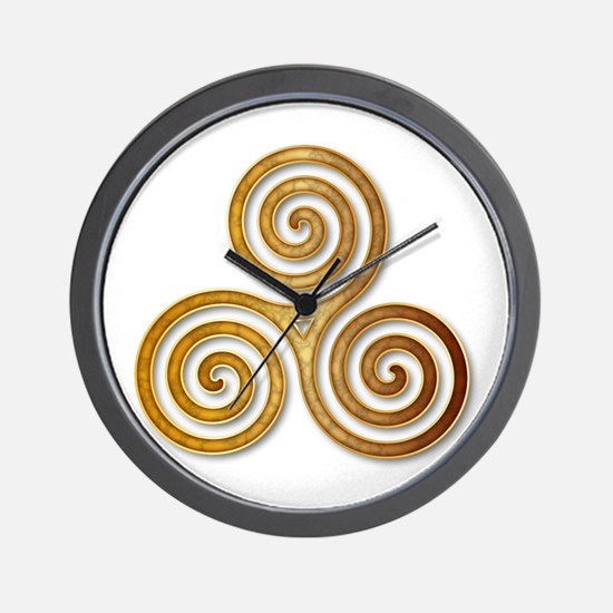 Celtic Triple Spiral in Citrine & Gold Wall Clock