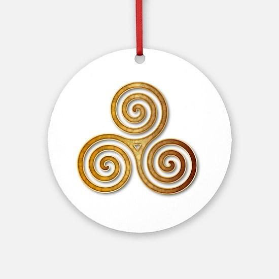Celtic Triple Spiral in Citrine & G Round Ornament