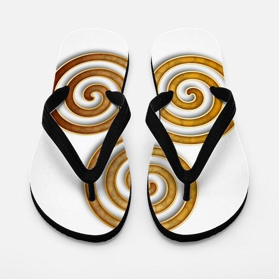 Celtic Triple Spiral in Citrine & Gold Flip Flops