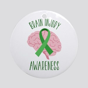 Brain Injury Awareness Round Ornament