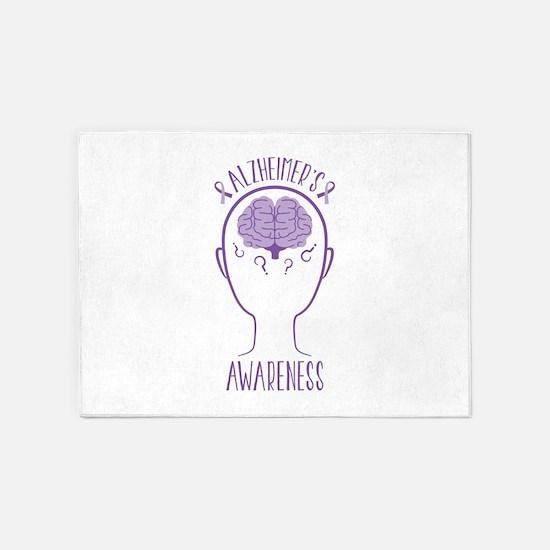 Alzheimers Awareness 5'x7'Area Rug