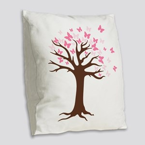 Butterfly Hope Tree Burlap Throw Pillow