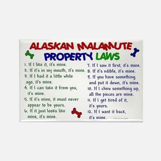 Alaskan Malamute Property Laws 2 Rectangle Magnet