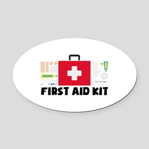 First Aid Kit Oval Car Magnet