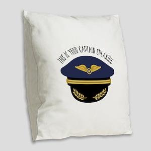 Your Captain Burlap Throw Pillow