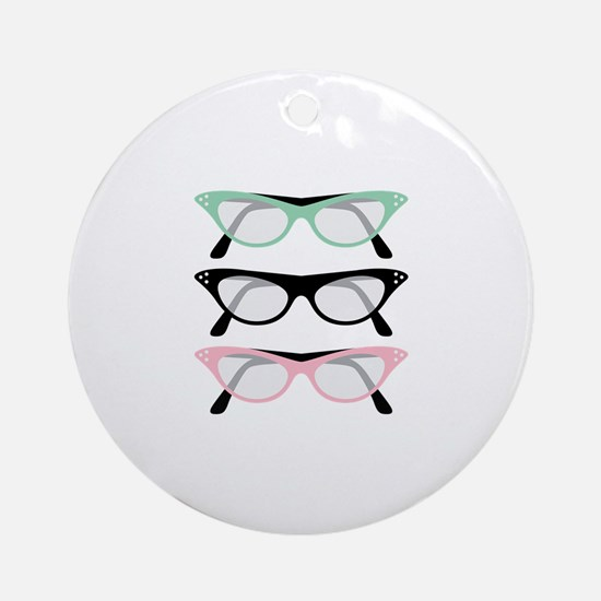 Retro Glasses Round Ornament